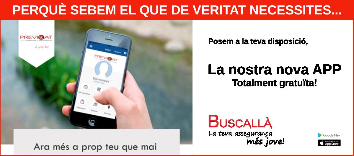 Buscallà-vídeo explicatiu i enllaços google play i App Store per descarregar la nostra app