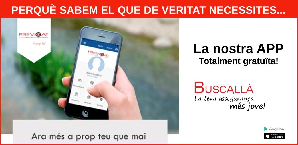 La nostra app-Buscallà assegurances al Berguedà-vídeo explicatiu i enllaços google play i App Store per descarregar la nostra app