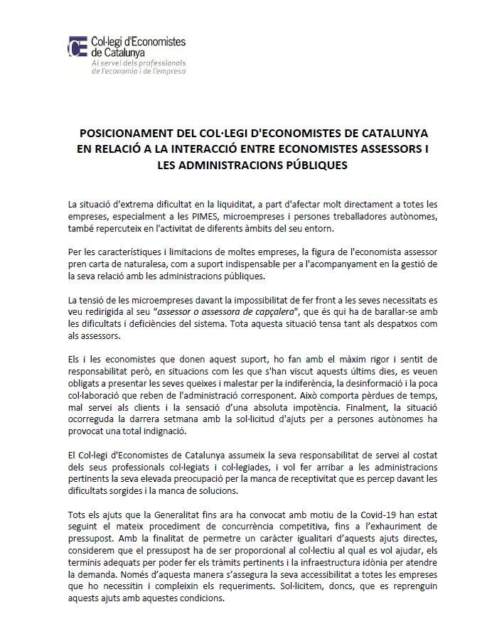 Posicionament del Col·legi d'Economistes de Catalunya- interacció administracions 1